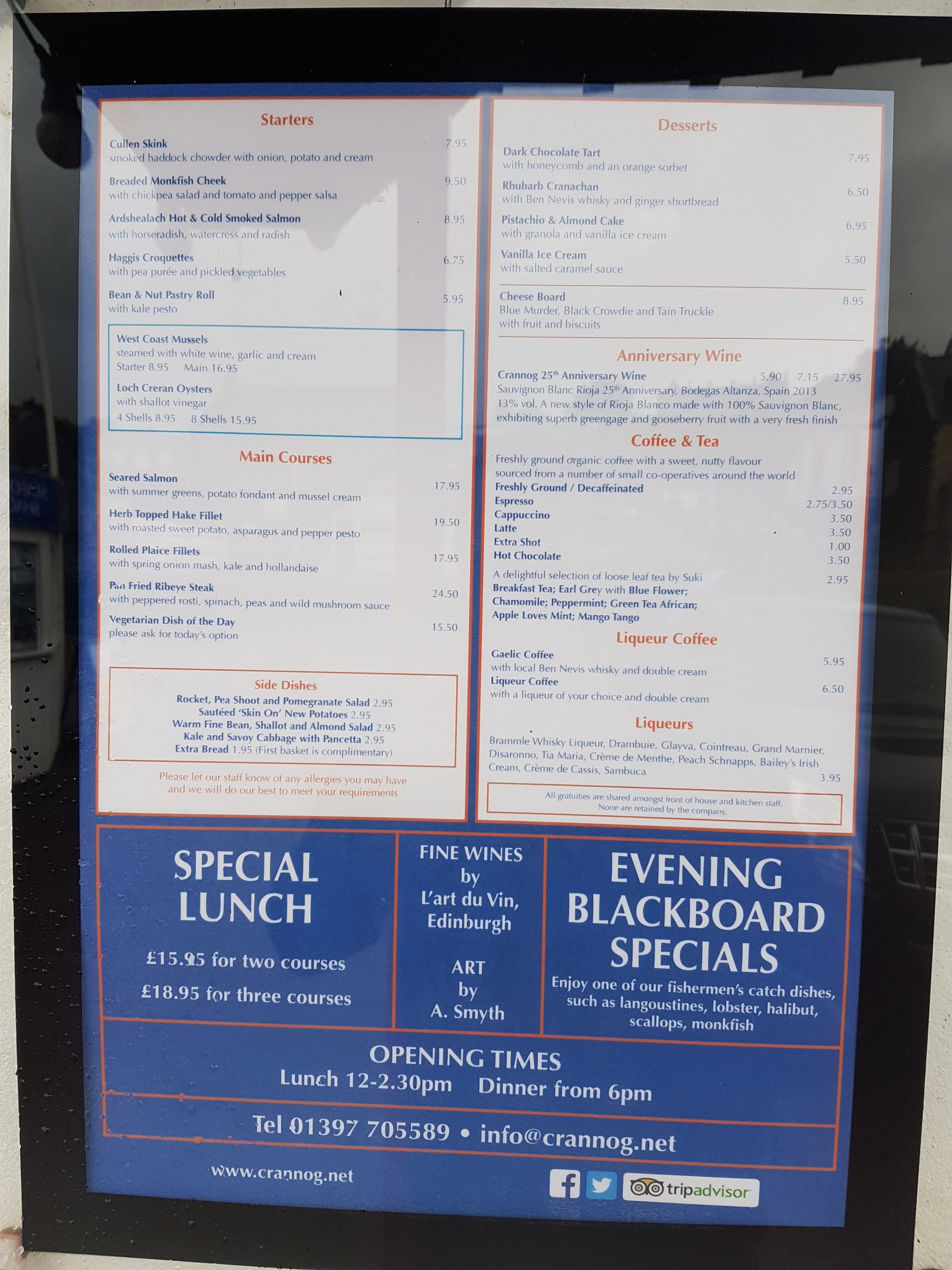 This is the Crannog Seafood Restaurant menu