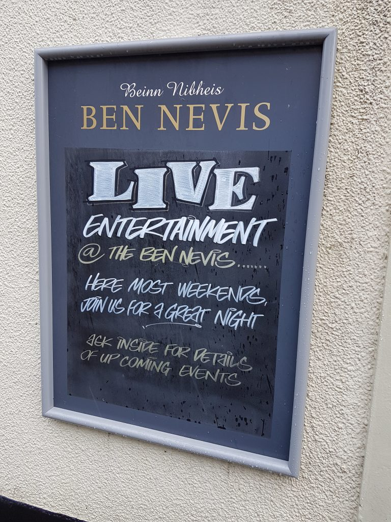 Sign outside Ben Nevis pub